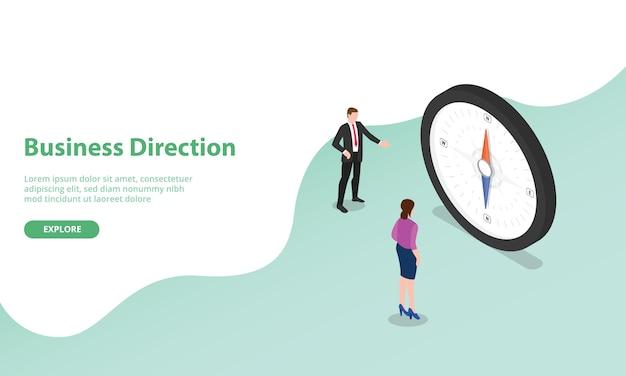 Обсуждение направления бизнеса с компасом в виде символа в изометрическом современном стиле для шаблона веб-сайта или целевой страницы Premium векторы