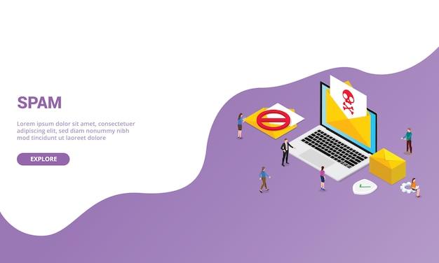 ウェブサイトテンプレートまたは等尺性のモダンなスタイルのランディングホームページのスパムニュースレターメールコンセプト Premiumベクター
