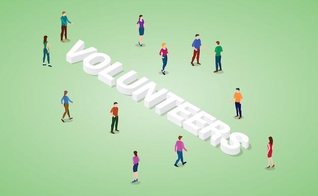 Концепция волонтеров с различными людьми и громкое слово или текст с современным изометрическим стилем Premium векторы