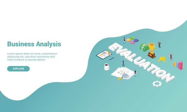 Анализ эффективности оценки бизнеса изометрический для шаблона веб-сайта или целевой страницы Premium векторы
