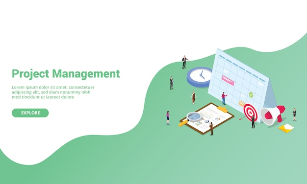 Концепция управления проектом для веб-сайта или шаблона баннерной посадки с изометрическим стилем Premium векторы