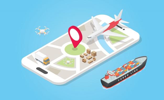 Интеллектуальная система доставки транспорта с различными моделями, такими как воздух земли и моря с телефоном приложение трек с современным плоским стилем - вектор Premium векторы