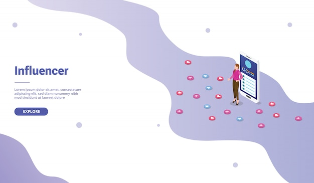 アイソメ図スタイルのウェブサイトテンプレートまたはランディングホームページのソーシャルメディアインフルエンサーマーケティングビジネス Premiumベクター
