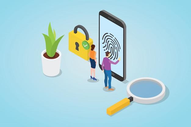 Концепция технологии безопасности отпечатков пальцев с смартфон и замок Premium векторы