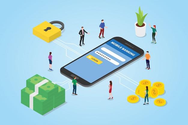 スマートフォンのお金とセキュリティログインセキュリティ保護された領域を持つモバイル決済の概念 Premiumベクター