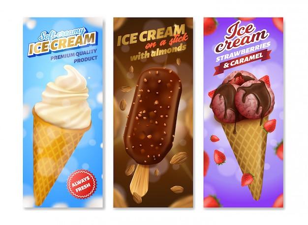 Реалистичный набор для упаковки мороженого с разными вкусами Premium векторы