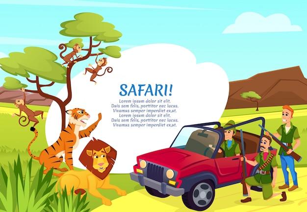 アフリカの動物を目指してジープに立っているハンター Premiumベクター