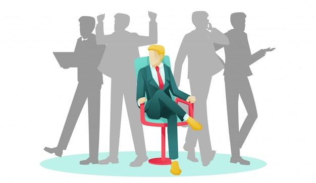 椅子と人間のシルエットに座っている実業家 Premiumベクター