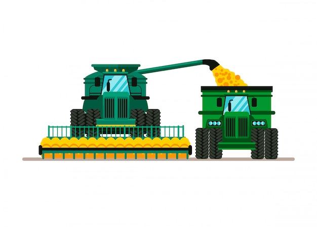 収穫小麦漫画イラスト Premiumベクター