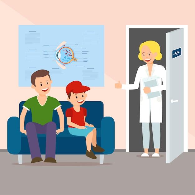 視力検査のための息子と父を招待する医師 Premiumベクター