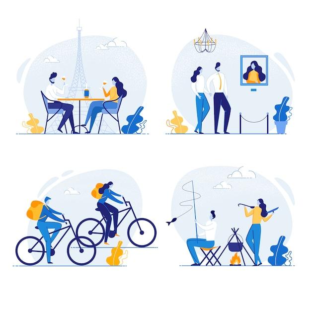 一緒に時間を過ごすカップル、旅行 Premiumベクター