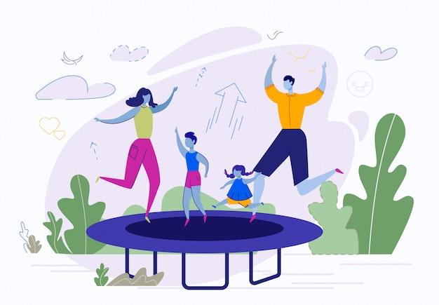 Семейные развлечения на свежем воздухе, прыжки на батуте Premium векторы