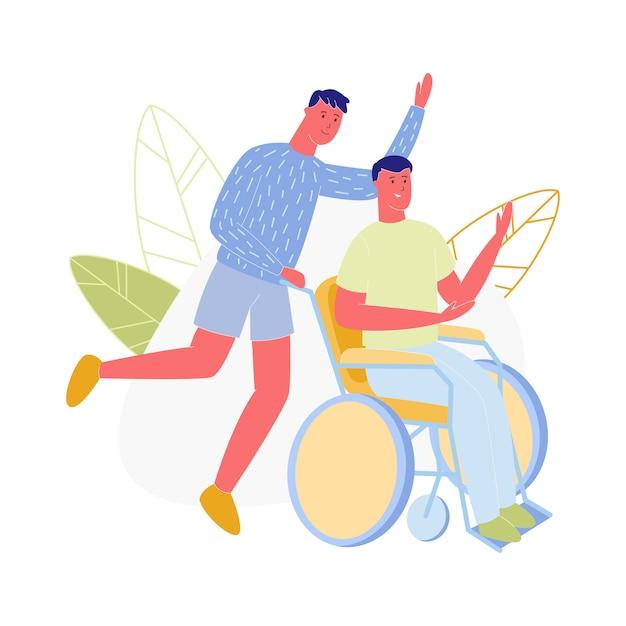 車椅子に座っている若い男プッシュ無効な男 Premiumベクター