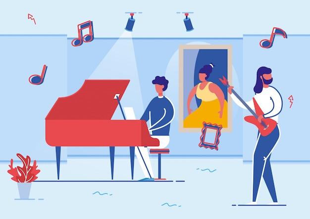 Музыканты играют на фортепиано и гитаре в художественной галерее. Premium векторы
