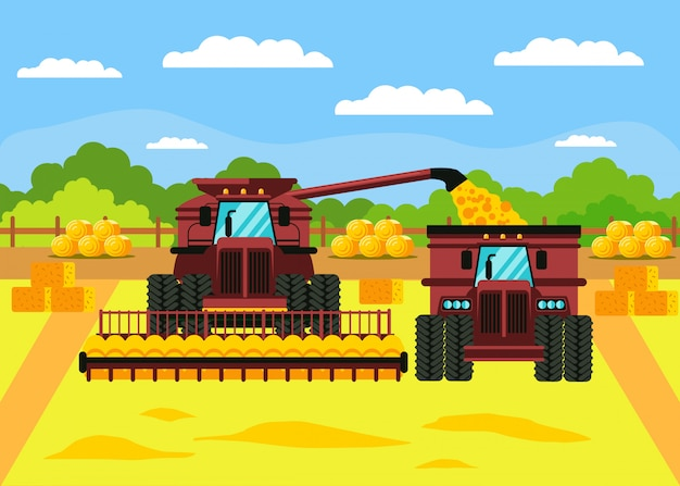穀物収穫フラットベクトル図 Premiumベクター