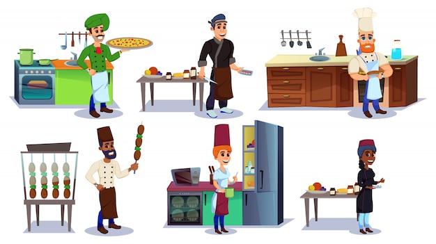 Кухня с шеф-поваром персонажей с разными блюдами. Premium векторы