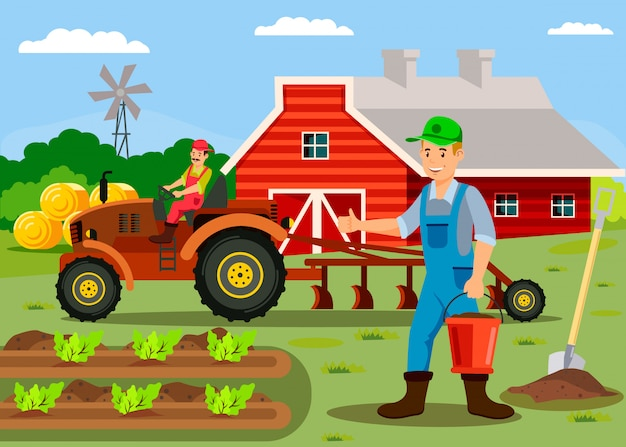 納屋の漫画のキャラクターの近くで働いている農家 Premiumベクター