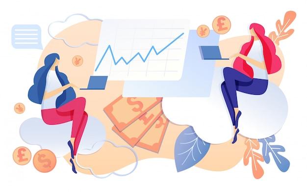 Бизнес компания бухгалтерия женщина работа на ноутбуке Premium векторы