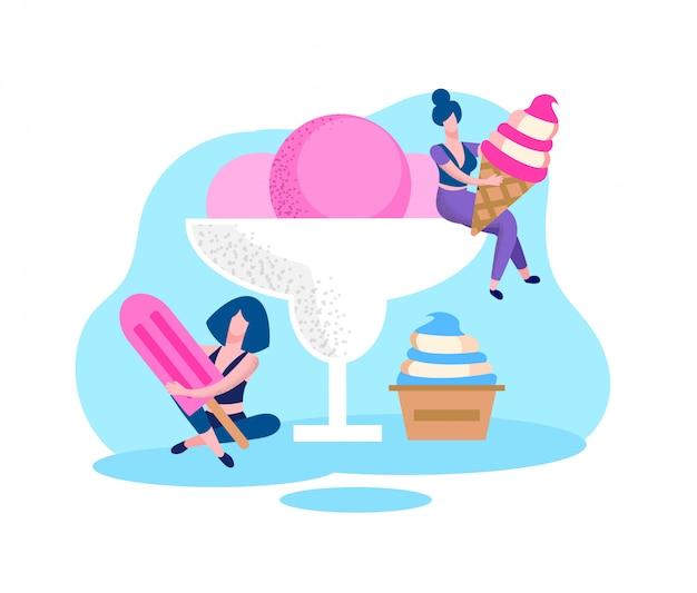 手にさまざまな種類のアイスクリームを持つ女性。 Premiumベクター