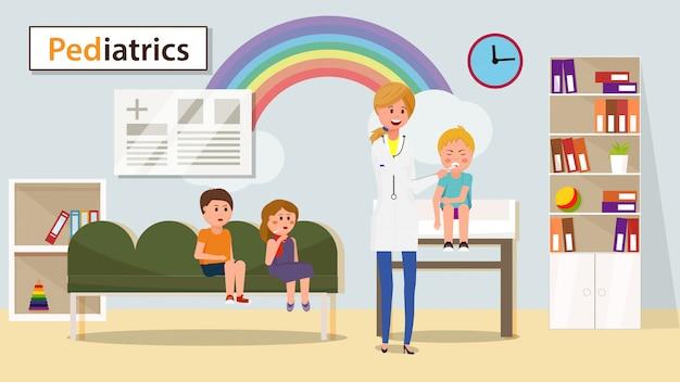 小児科医測定少年温度バナー。 Premiumベクター