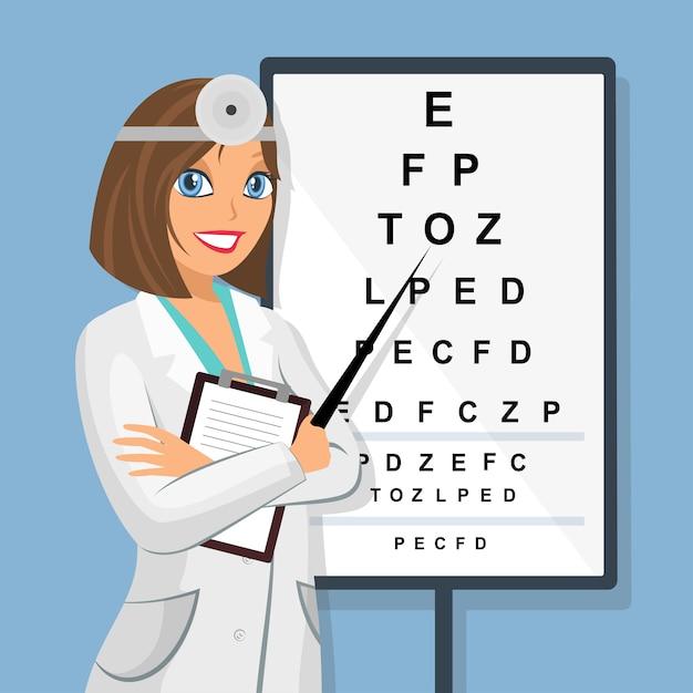 Совет по проверке зрения для экзаменов по зрению. Premium векторы