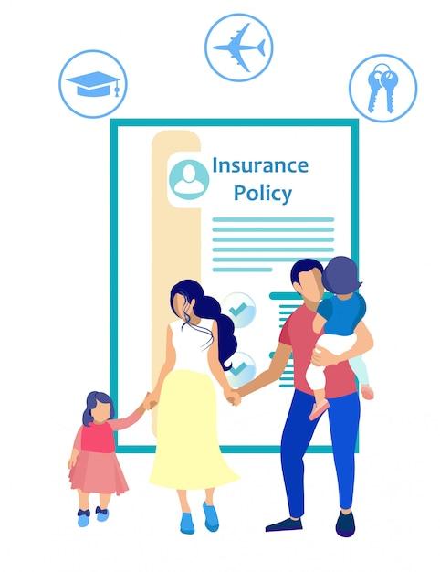 保険と白い背景の人々。 Premiumベクター