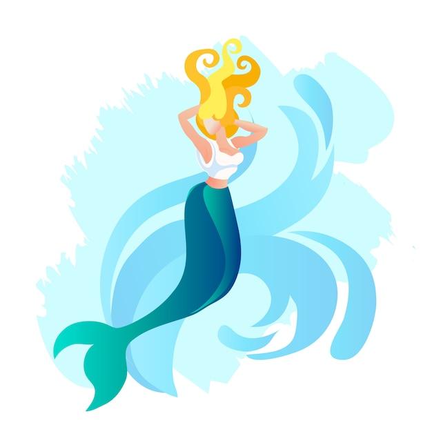 魚の尾を持つ人魚またはサイレン美人 Premiumベクター