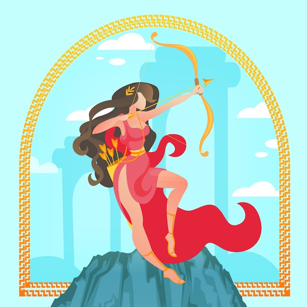 アルテミスまたはダイアナ。古代ギリシャ神話の聖母 Premiumベクター