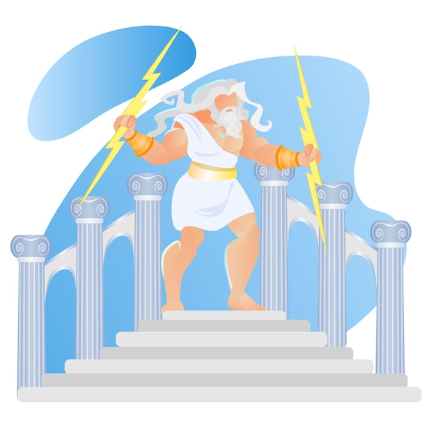 Греческая мифология бог зевс громовержец бросай молнию Premium векторы