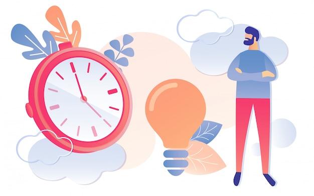時計電球アイデアサインで漫画男時計 Premiumベクター