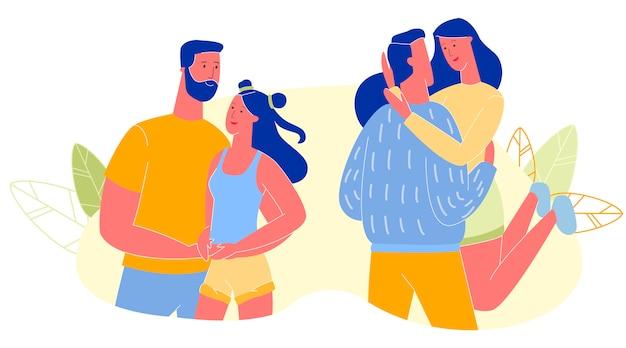 幸せな若い男と女が一緒に時間を過ごす Premiumベクター