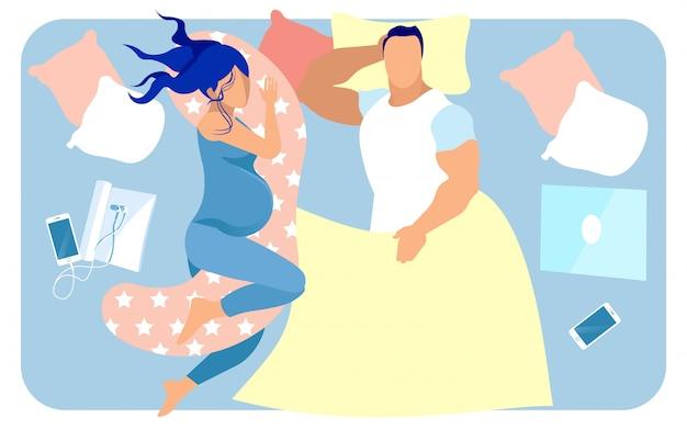 大きいベッドで一緒に前向きなママとパパ Premiumベクター