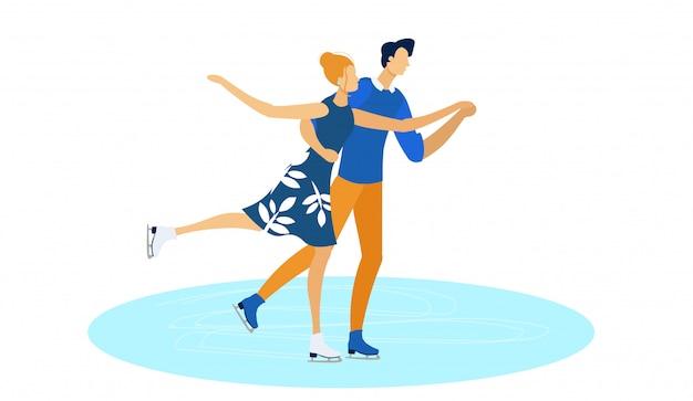 フィギュアスケート、スポーツアイスでのダンスの実行。 Premiumベクター