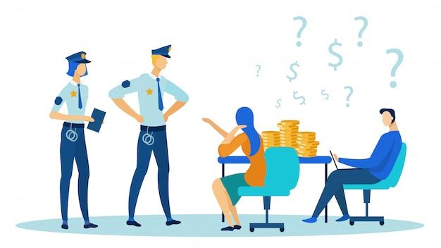 警察の人々はオフィスに来て、机にコインを入れます。 Premiumベクター