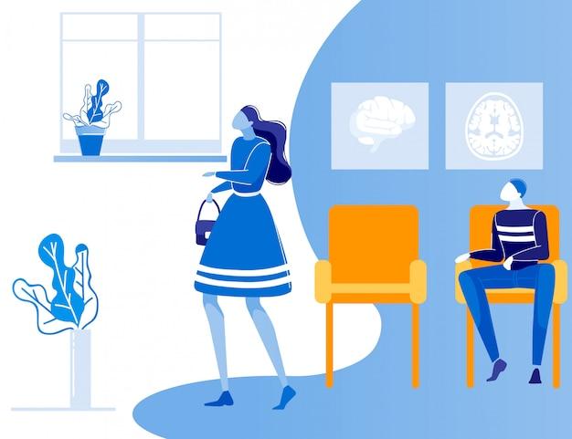 Мужчина женщина люди очередь в больнице коридор мультфильм Premium векторы