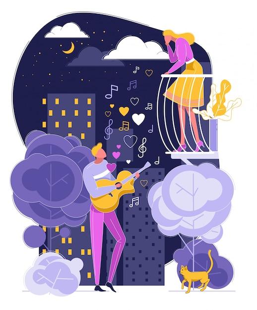 男はバルコニーで女性にギター歌を歌う Premiumベクター