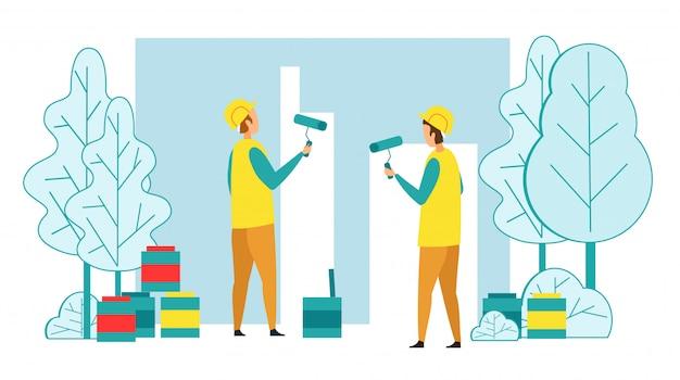 ペイントローラーで家の壁を塗るビルダー Premiumベクター