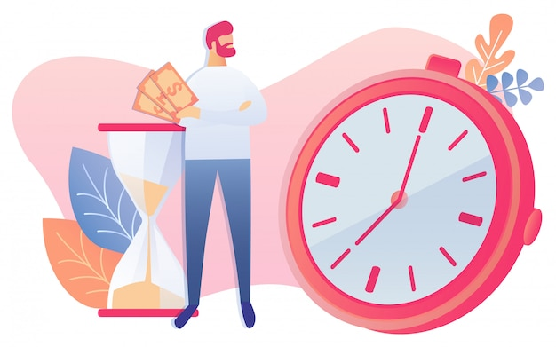 Бизнесмен держать наличные деньги в руке смотреть на часы Premium векторы