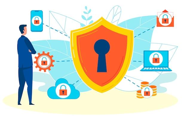 Защита информации плоский векторная иллюстрация Premium векторы