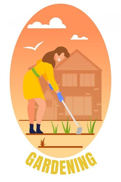 Женщина садовник прополка кровать. Premium векторы