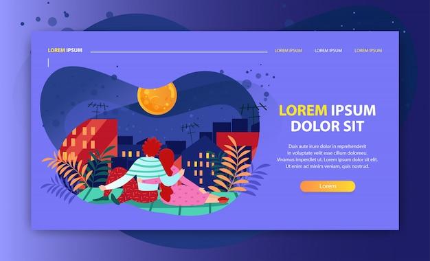 夜に月を探しているロマンチックなカップルのイラストがリンク先ページまたはウェブサイトテンプレート Premiumベクター