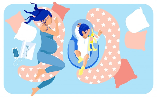 大きなベッドで寝ている将来の母親と赤ちゃん Premiumベクター