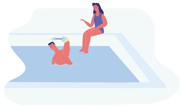 Мультфильм человек протез руки женщина плавать сидеть бассейн Premium векторы