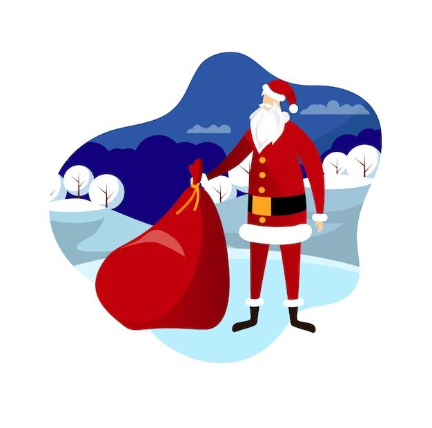 Санта с сумкой на фоне зимнего пейзажа. Premium векторы
