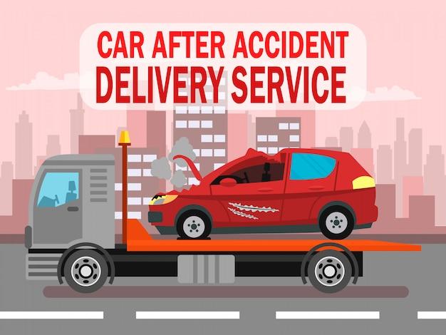 Автокатастрофа, служба доставки шаблон веб-баннера Premium векторы