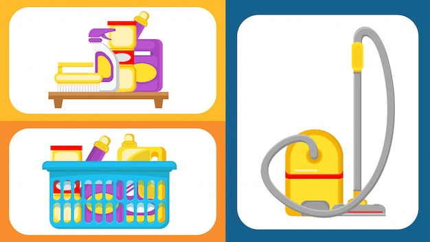 Набор для чистки дома векторные иллюстрации Premium векторы
