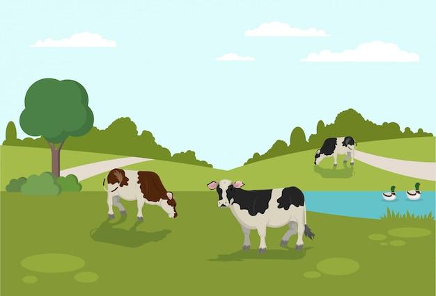 川の動物農場で泳ぐアヒルの銀行の鴨 Premiumベクター
