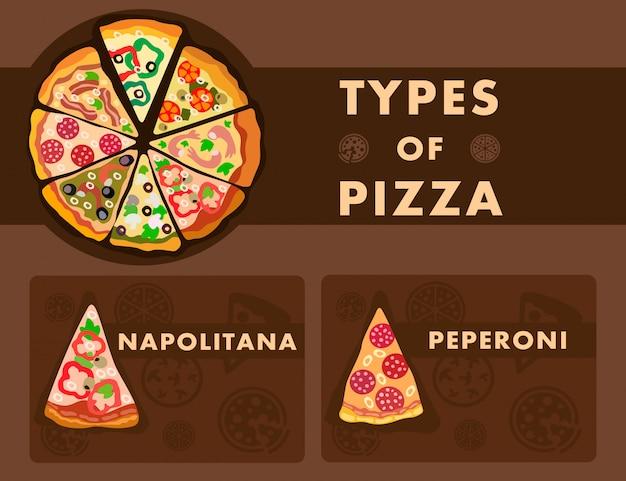 Тип пиццы выбор мультфильма плакат Premium векторы