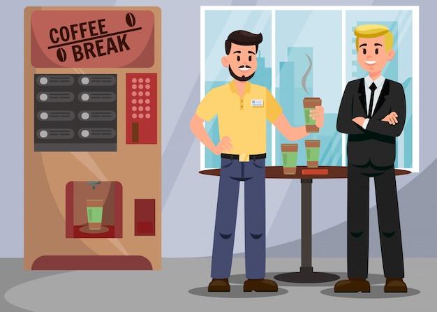 コーヒーブレークのベクトル図での同僚 Premiumベクター
