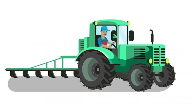 耕作トラクターのベクトル図の農家 Premiumベクター